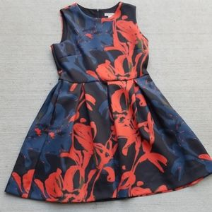 Dress Barn Red Floral Scuba Dress Size 14